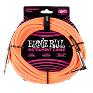 Ernie Ball P06084 18' Braided Straight/Angle Instrument Cable - Neon Orange