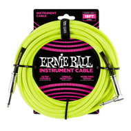 Ernie Ball P06085 18' Braided Straight/Angle Instrument Cable Neon - Yellow