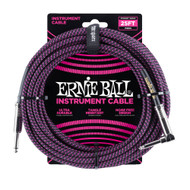 Ernie Ball P06068 25' Braided Straight/Angle Instrument Cable - Black/Purple