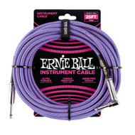 Ernie Ball P06069 25' Braided Straight/Angle Instrument Cable - Purple