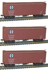 Accurail HO Scale Kit 36' Wood Box Car 3-Pack Santa Fe #248530/248659/248716