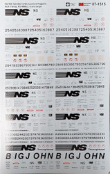 Microscale Model Railroad Decals HO Scale NS/Norfolk Southern Covered Hoppers