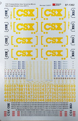 Microscale Model Railroad Decals HO Scale CSX ES44AC/EMD Diesels 2nd Gen Yellow