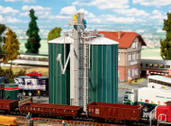 Faller HO Scale Building/Structure Kit Dual Silos with Elevator (Grain Loading)
