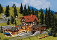 Faller N Scale Building/Structure Kit Sawmill/Water Wheel (Non-Powered)Weathered
