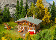 Faller N Scale Building/Structure Kit Mountain Rescue Chalet House - Weathered