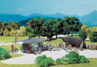 Faller HO Scale Scenery Accessory Kit 2 Bicycle Stands & 16 Bikes