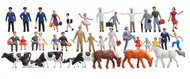 Faller N Scale Model Figure/Peo​ple Set - Beginner's Set w/ Animals - 36 Pieces