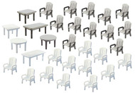 Faller N Scale Scenery Accessory Kit 6 Tables & 24 Patio/Lawn Chairs