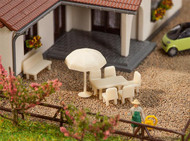 Faller N Scale Scenery Accessory Kit Patio Tables Chairs & Unbrellas