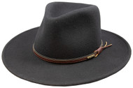 Stetson Bozeman Black Wool Crushable Cowboy Western Hat - Small
