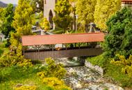 Faller HO Scale Building/Structure Kit Covered/Roofer Pedestrian Foot Bridge