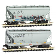 Micro-Trains MTL N-Scale Two-Bay Covered Hoppers Norfolk Southern Graffiti 2-Pk