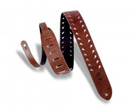 "Levy's M12TTV-BRN 2"" Veg-Tan Leather Brown Tooth Punch Out Guitar/Bass Strap"
