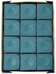 Silver Cup BLUE Pool Billiard Cue Stick Chalk (12 Pack)