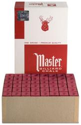 Master Billiard/Pool Cue Chalk - Burgundy - Gross - 12 Dozen (144 Pieces)