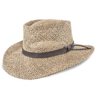 Stetson Gambler Seagrass Straw Outdoorsman Hat Natural - Large/Extra Large