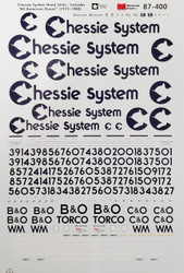 Microscale Model Railroad/Train Decals HO Scale Chessie System Diesels 1972-1987