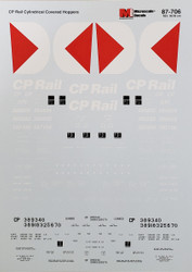 Microscale Model Railroad/Train Decals HO Scale CP Rail Covered Hoppers 1976+