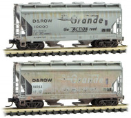 Micro-Trains MTL N-Scale 2-Bay Centerflow Hoppers Rio Grande/DRGW Weathered 2-Pk