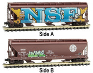 Micro-Trains MTL N-Scale 3-Bay Centerflow Hopper BNSF Graffiti/Weathered #402200