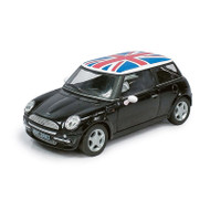 Atlas O Scale 2000s Mini Cooper Model Car (Assembled) Black with UK Flag Roof