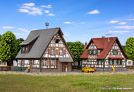 Kibri Z Scale Building/Structure Kit Two Half-Timbered Frame Houses/Homes