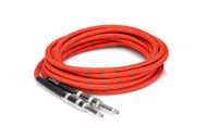 HOSA - 3GT-18C3 - Cloth Guitar Cable - Hosa Straight to Same - 18 ft - Red/Green