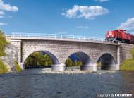 Kibri N Scale Building/Structure Kit Curved Stone Viaduct Bridge Gray Radius 2