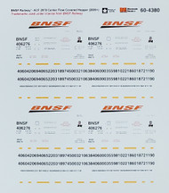 Microscale Model Railroad/Train Decals N Scale BNSF ACF 2970 Center Flow Hopper