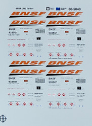 Microscale Model Railroad/Train Decals N Scale BNSF LNG Tanker #933501
