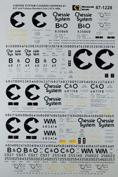 Microscale Model Railroad/Train Decals HO Scale Chessie System Covered Hoppers