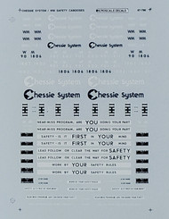 Microscale Model Railroad/Train Decals N Scale Chessie System Safety Cabooses