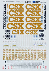 Microscale Model Railroad/Train Decals N Scale CSX Diesels (2002+) Blue/Yellow