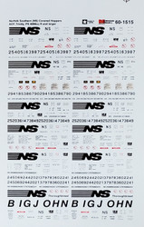 Microscale Model Railroad/Train Decals N Scale Norfolk Southern Covered Hoppers