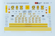 Microscale Model Railroad/Train Decals HO Scale CSX Aluminum Coalporter Gondola