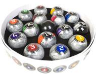 McDermott Galaxy Series (Lunar Rocks) Metallic Silver Pool/Billiard Ball Set
