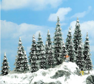 "Busch N/HO/O Scale Snow Covered Pine Trees Package/20 2-3/8 to 5-3/8"" Tall 6466"