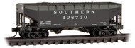 Micro-Trains MTL N-Scale 33ft Twin-Bay Offset Hopper/Coal Load Southern #106730