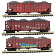 Micro-Trains MTL N-Scale 100 Ton 3-Bay Hoppers BNSF - Weathered/Graffiti 3-Pack
