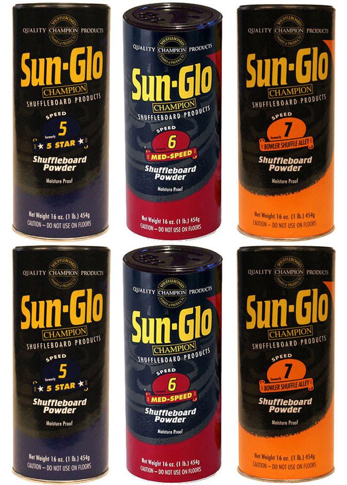 Sun-Glo SLOW Mix Shuffleboard Powder Wax 6 Pack 2ea  Speeds 5-7