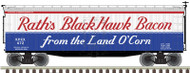 Atlas O Scale 40' Wood Reefer - 3-Rail - Rath's Black Hawk Bacon/RPRX #472