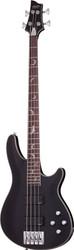 Schecter Damien Platinum 4 Bass Guitar Silver Bat Fretmarkers - Satin Black