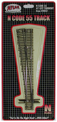 Atlas N Scale Code 55 #7 Left-Hand Turnout/Switch Model Train Track