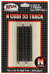 "Atlas N Scale Code 55 3"" Straight 6-Pack Model Train Track"