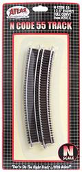 "Atlas N Scale Code 55 12.5"" Radius Curve 6-Pack Model Train Track"