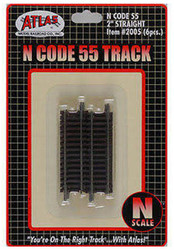 "Atlas N Scale Code 55 2"" Straight 6-Pack Model Train Track"