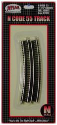 "Atlas N Scale Code 55 11.25"" Radius Curve 6-Pack Model Train Track"