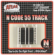 "Atlas N Scale Code 55 1.25"" Straight 6-Pack Model Train Track"