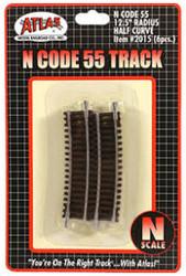 "Atlas N Scale Code 55 12.5"" Radius 1/2 Curve 6-Pack Model Train Track"